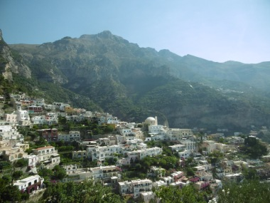 Positano, from moving bus